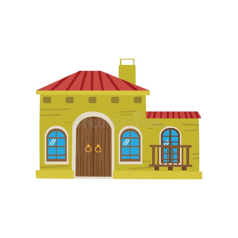 Ejemplo mexicano del vector de la historieta de la fachada de la casa stock de ilustración