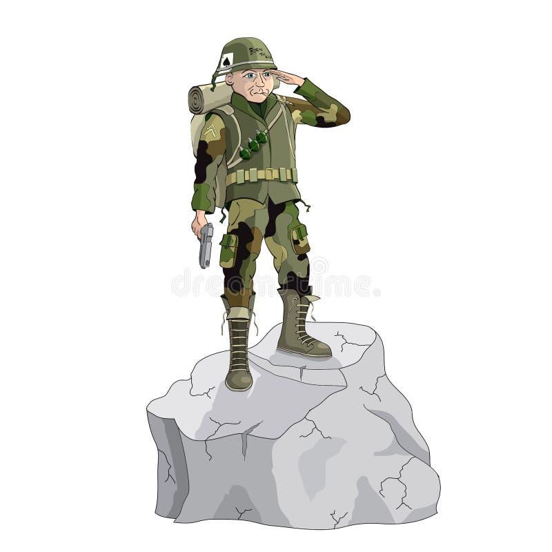 Ejemplo militar del soldado de la historieta imagenes de archivo