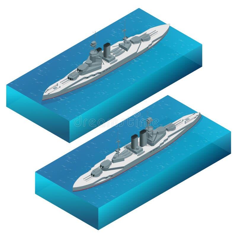Ejemplo militar isométrico del vector del buque de guerra del dreadnought Barco acorazado de la marina de guerra Para el concepto libre illustration