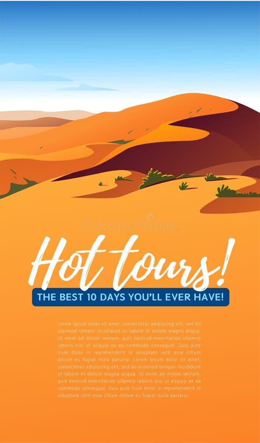 Ejemplo minimalistic del paisaje plano del vector de la opinión caliente de la naturaleza del desierto: cielo, dunas, arena, plan libre illustration
