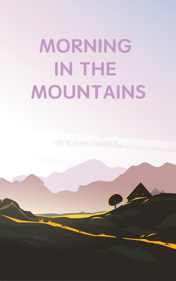 Ejemplo minimalistic del paisaje plano del vector de la opinión salvaje con el cielo, luz del sol, casa acogedora de la mañana de stock de ilustración