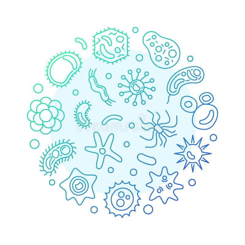 Ejemplo moderno azul del vector redondo de los virus en estilo del esquema ilustración del vector