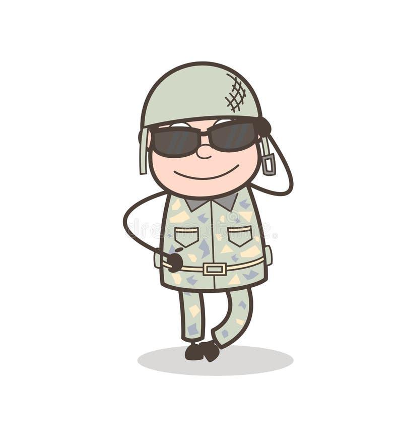 Ejemplo moderno de Wears Sunglasses Vector del oficial de ejército de la historieta stock de ilustración