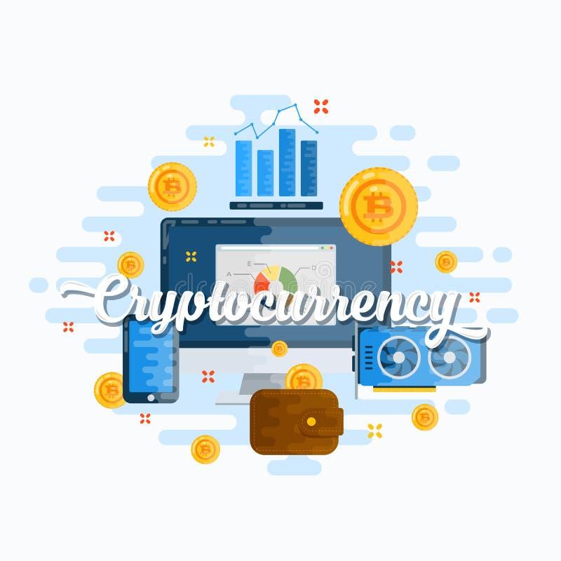 Ejemplo moderno del estilo plano del vector del extracto de Cryptocurrency Moneda, electrónica e Infographics de Bitcoin Digital ilustración del vector