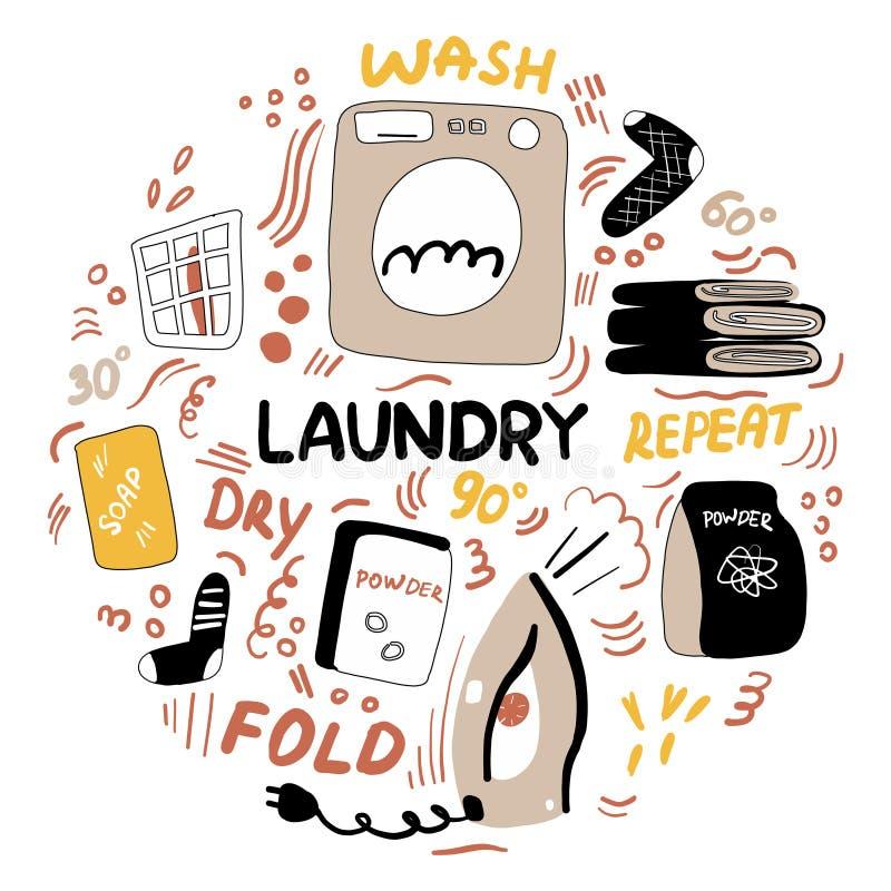 Ejemplo moderno del garabato del lavadero Lavado a máquina del quehacer doméstico, hierro, polvo, calcetines, toallas Mano casera stock de ilustración
