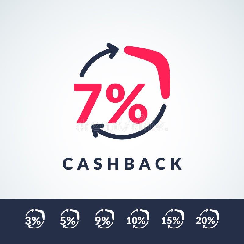 Ejemplo moderno del vector de la devolución de efectivo con el bumerán y la muestra del por ciento Cartel en estilo plano minimal libre illustration