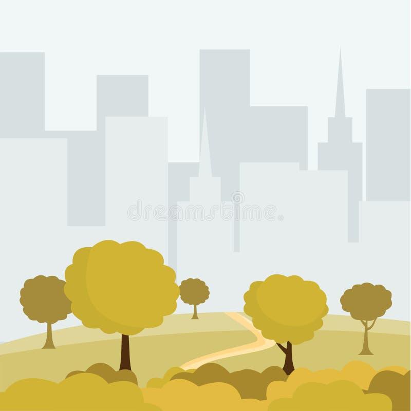 Ejemplo moderno del vector de la historieta del parque de la ciudad Árboles y calzada verdes de los arbustos, cityspace de los ed stock de ilustración