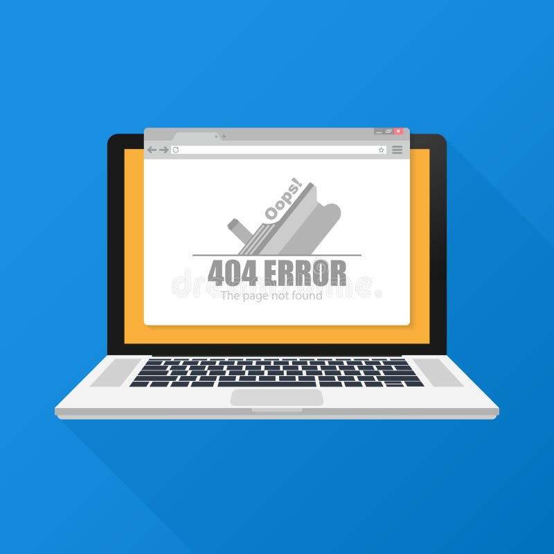 Ejemplo moderno del vector de la plantilla de la página de 404 errores para el sitio web Error no encontrado 404 de la página Ilu libre illustration