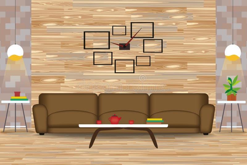 Ejemplo moderno del vector del diseño interior del estilo Sofá delante de la pared de madera Tablas laterales, lámparas, reloj Wi libre illustration
