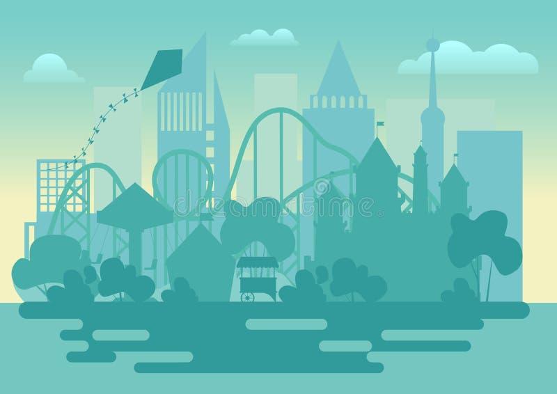 Ejemplo moderno del vector del paisaje de la silueta del parque de atracciones ilustración del vector