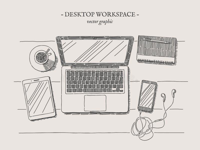 Ejemplo moderno del vintage del vector del lugar de trabajo ilustración del vector