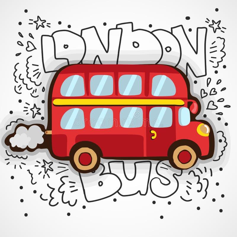 Ejemplo moderno Londres con símbolo inglés dibujado mano del garabato - autobús rojo del vector del autobús de dos pisos Bosquejo ilustración del vector