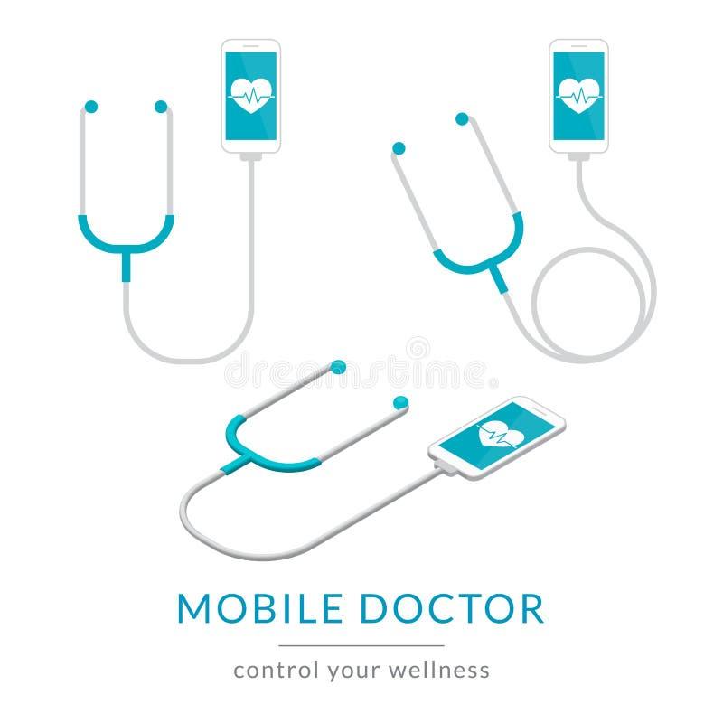 Ejemplo moderno plano de la salud de Digitaces de la medicina móvil con smartphone y el estetoscopio stock de ilustración