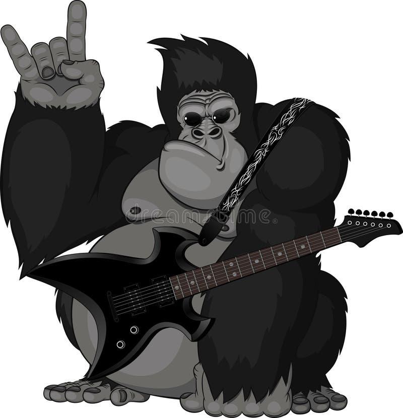 Ejemplo: mono con una guitarra stock de ilustración