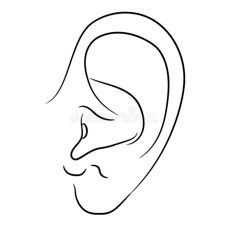 Ejemplo monocromático del vector del oído humano libre illustration