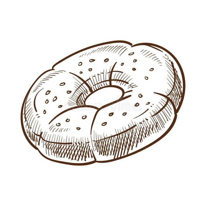 Ejemplo monocromático formado redondo del vector del bosquejo de la galleta dulce del postre stock de ilustración