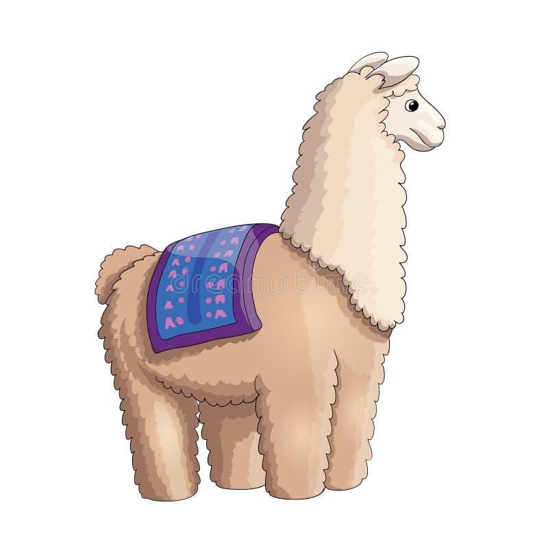 Ejemplo mullido de la historieta del lama para los niños ilustración del vector