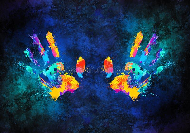 Ejemplo multicolor art?stico de la representaci?n 3d del extracto de manos libre illustration