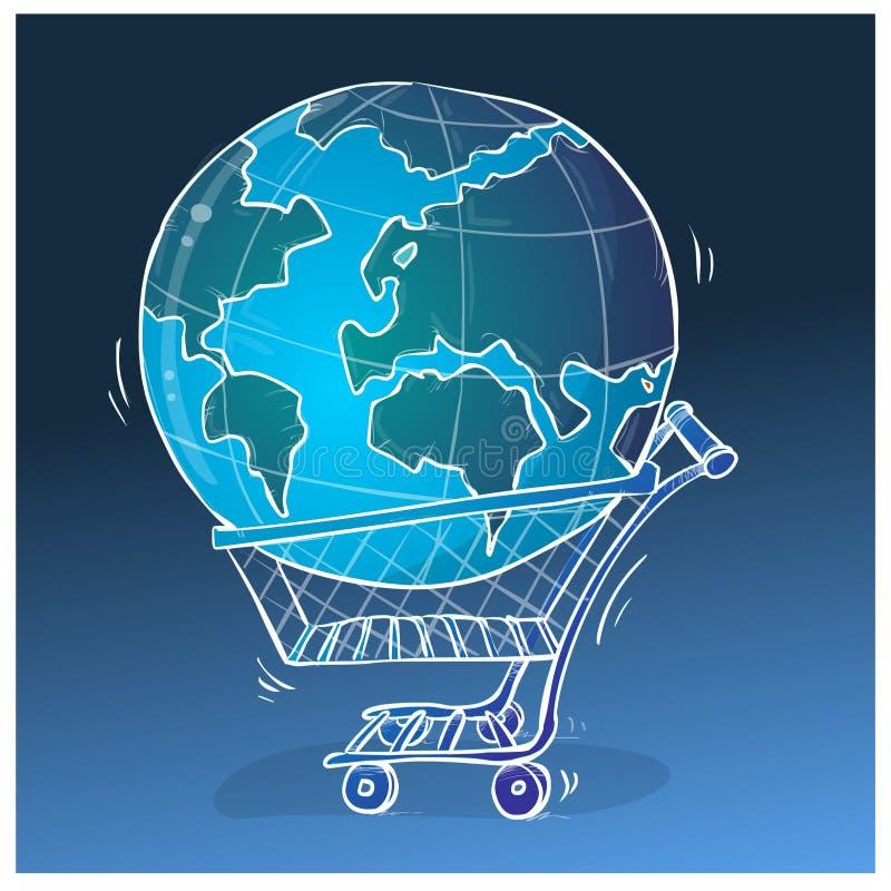 Ejemplo mundial de las compras ilustración del vector