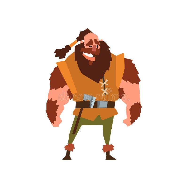 Ejemplo muscular del vector del carácter del guerrero de vikingo en un fondo blanco ilustración del vector