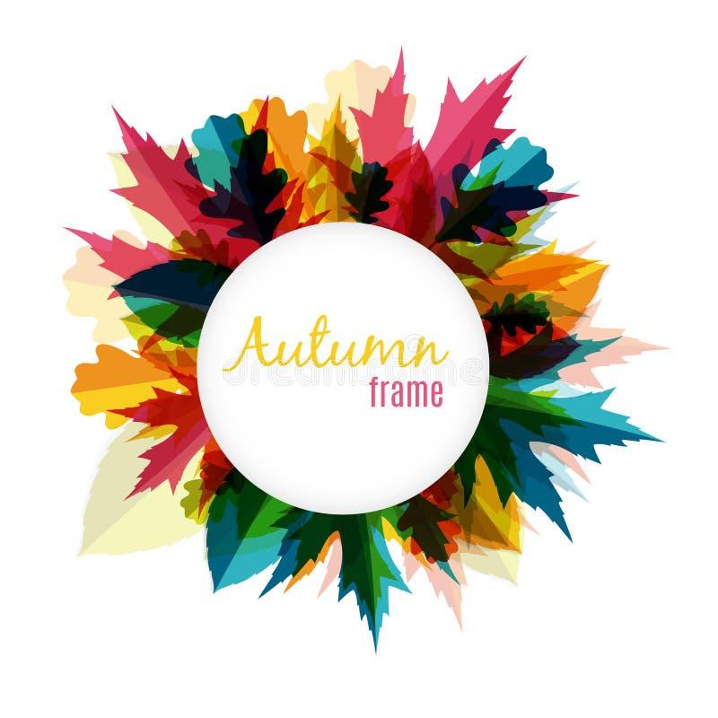 Ejemplo natural de Sunny Autumn Leaves Frame Background Vector ilustración del vector