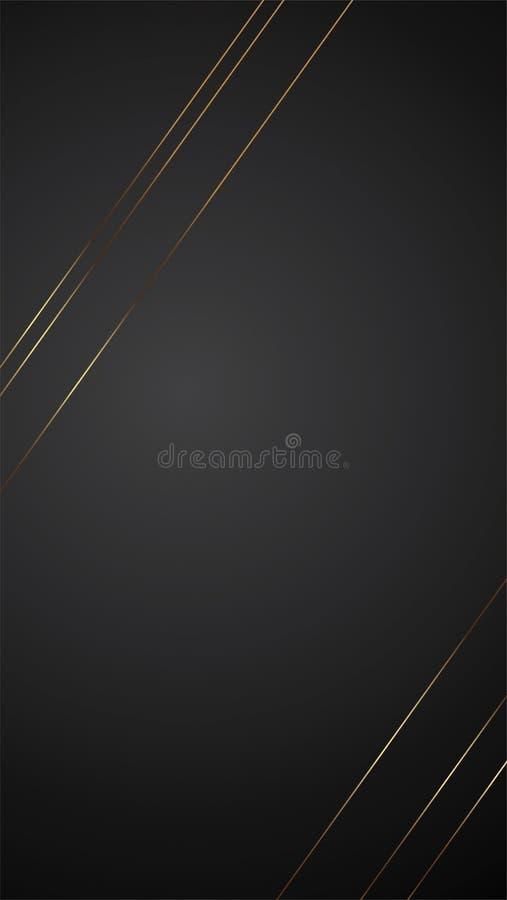 Ejemplo negro de lujo del vector de la bandera del fondo con la línea diseño del art déco de la tira del oro ilustración del vector