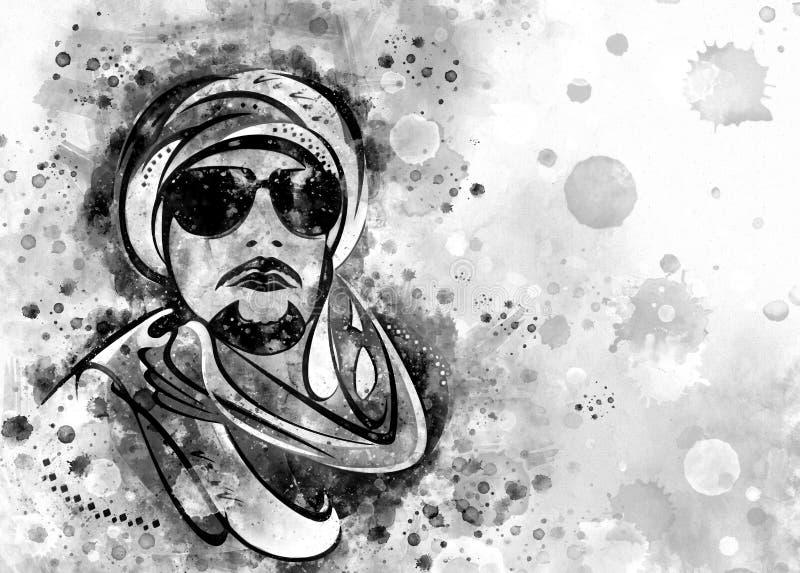 Ejemplo negro del estilo de la acuarela de un hombre beduino libre illustration