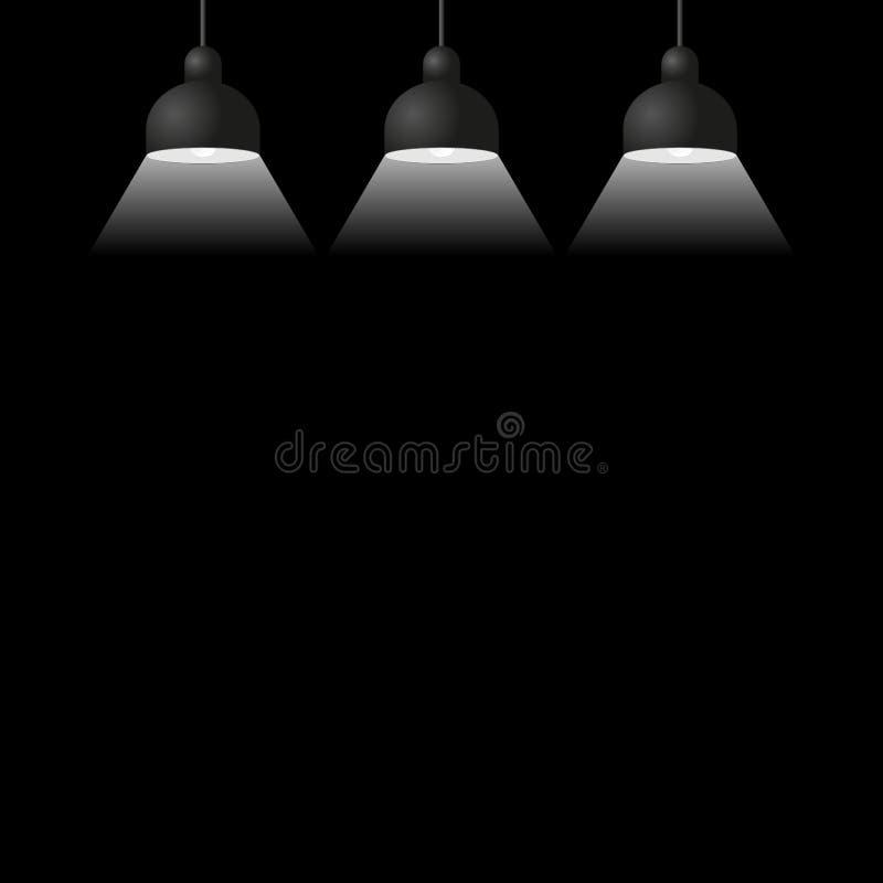 Ejemplo negro del vector de tres lámparas del techo ilustración del vector