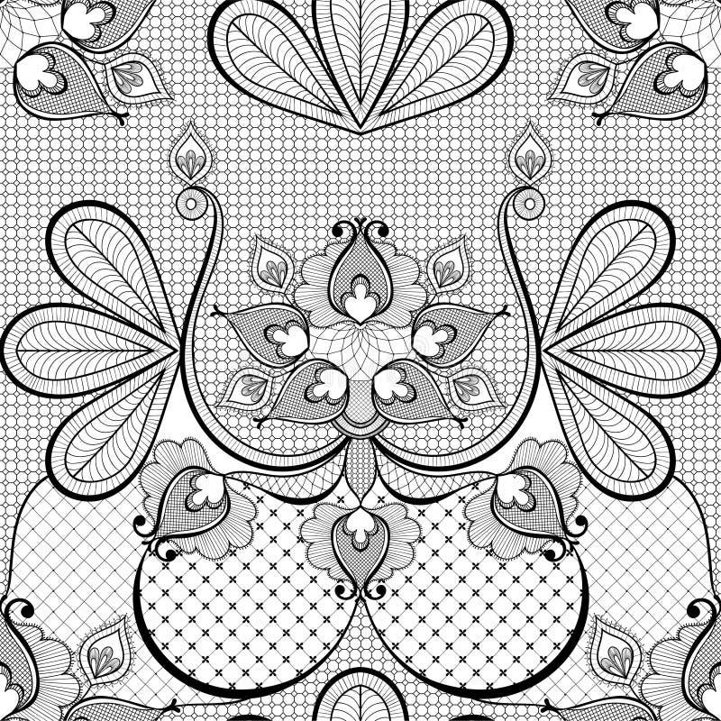 Ejemplo negro del vector del cordón para la decoración de la tarjeta del vintage stock de ilustración