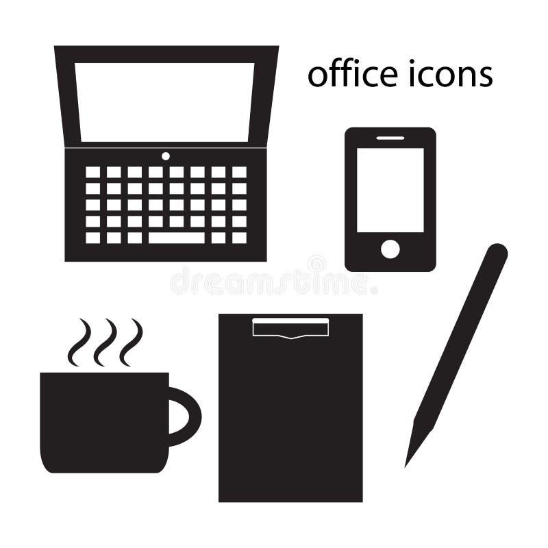 Ejemplo negro del vector del sistema de los iconos de la oficina ilustración del vector