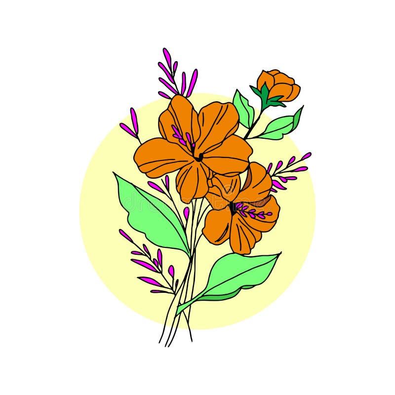 Ejemplo negro gráfico de la flor flor negra, flor del contorno, flor de la floración stock de ilustración