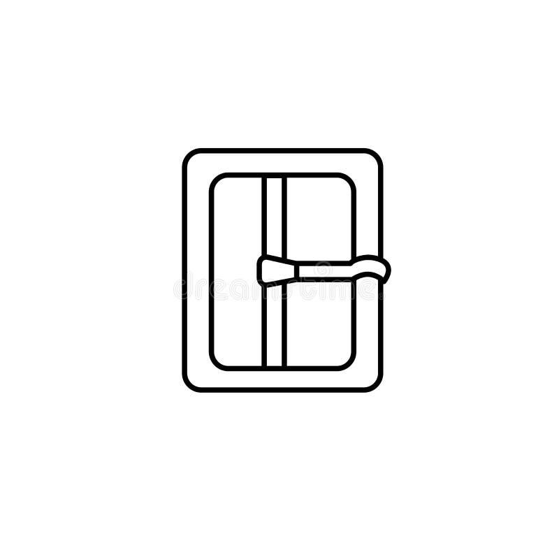 Ejemplo negro y blanco de la sujeción de la hebilla Línea icono del vector Objeto aislado libre illustration
