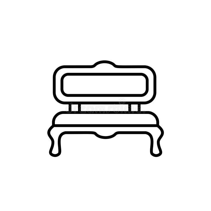 Ejemplo negro y blanco del vector del banco amortiguado Línea icono ilustración del vector