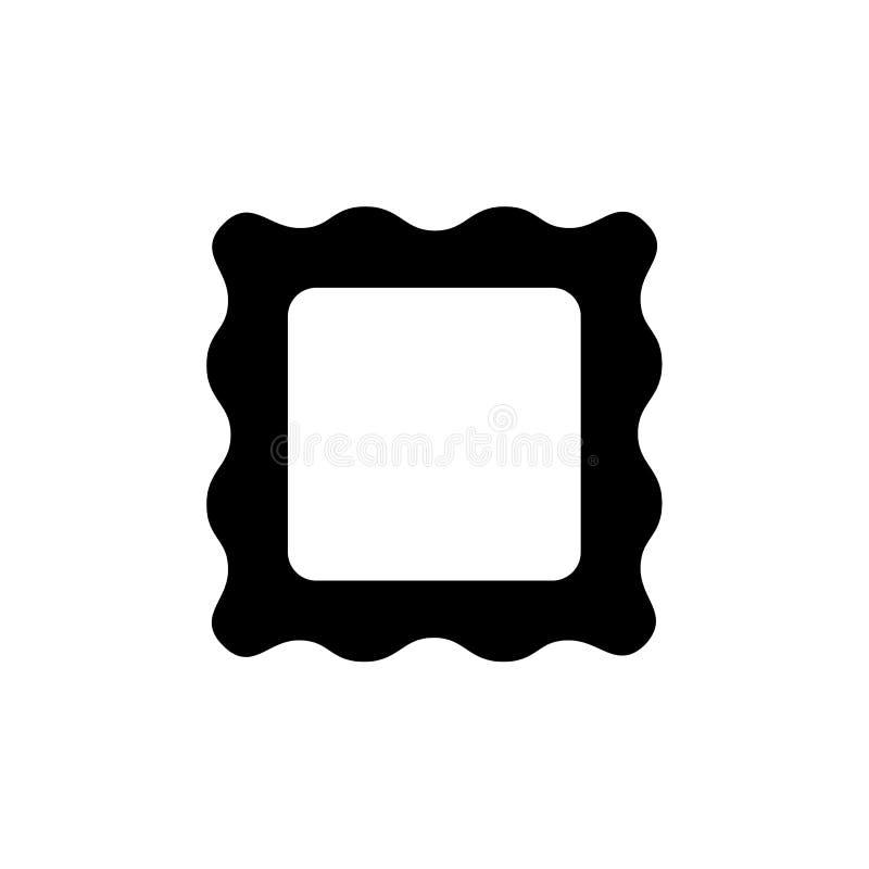 Ejemplo negro y blanco del vector del bastidor vacío de la foto Icono plano de la frontera negra de la imagen Elemento casero de  ilustración del vector