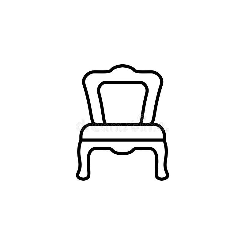 Ejemplo negro y blanco del vector de cenar la silla Línea icono de stock de ilustración