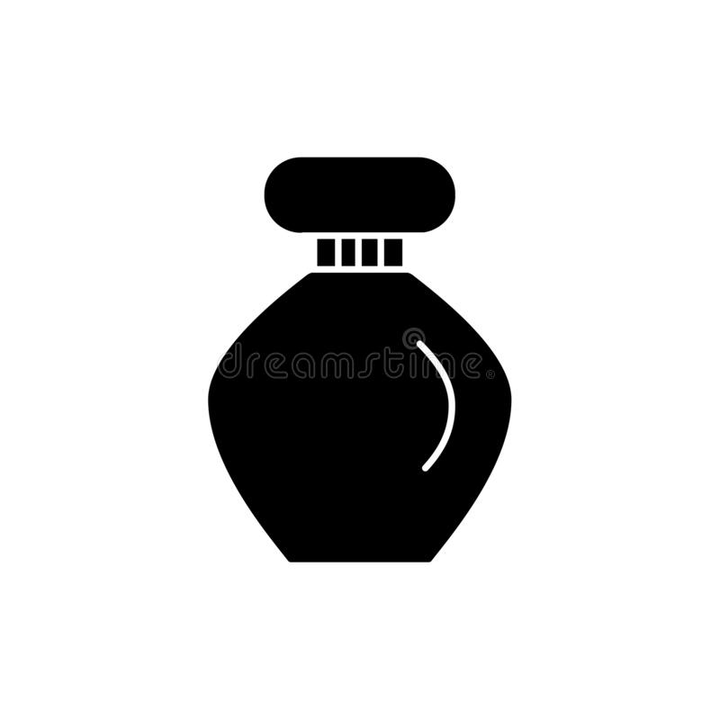 Ejemplo negro y blanco del vector de la botella de perfume Icono plano del envase de cristal para la fragancia del aroma o el otr stock de ilustración