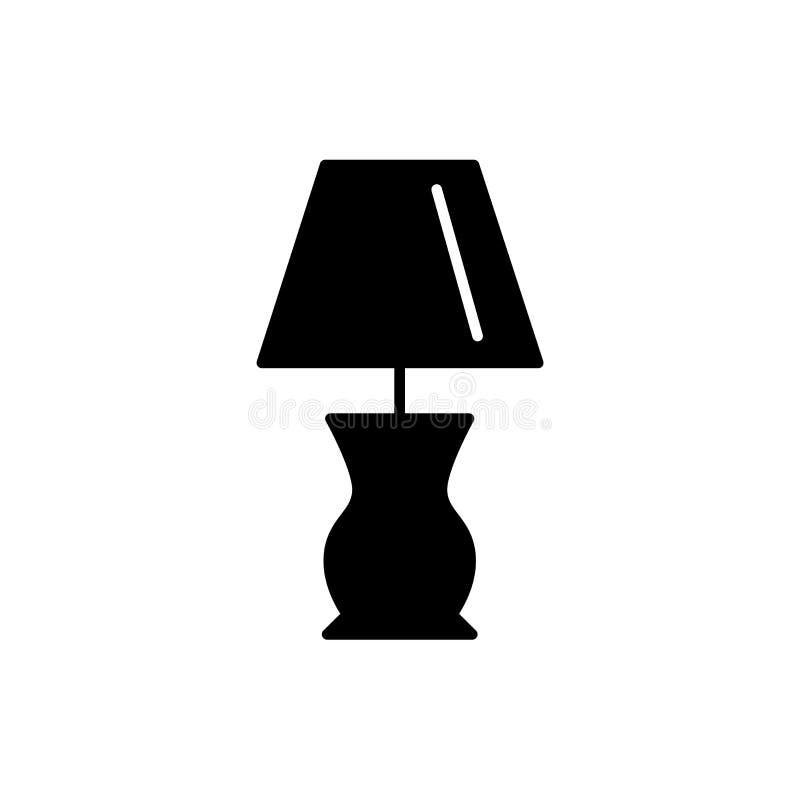 Ejemplo negro y blanco del vector de la lámpara de mesa de la cabaña Ic plano ilustración del vector