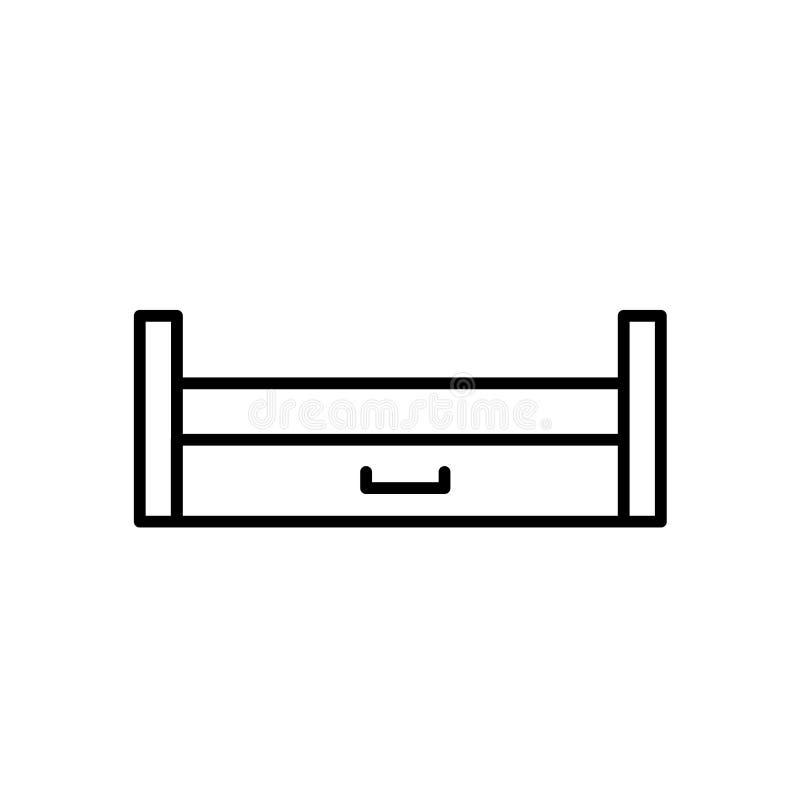 Ejemplo negro y blanco del vector del durmiente extraible de madera Li stock de ilustración