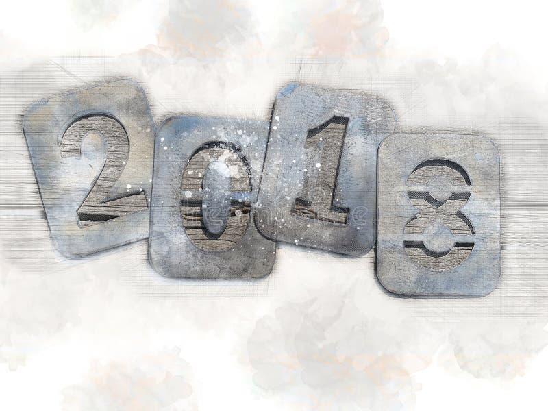 Ejemplo nostálgico para los días de fiesta de la Navidad, adiós 2018 Números del hierro en un fondo de madera imagen de archivo libre de regalías