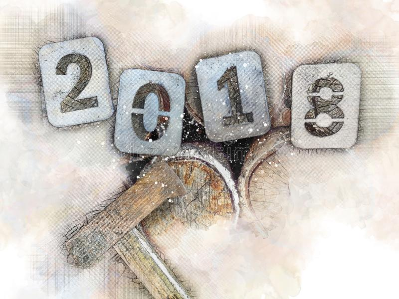 Ejemplo nostálgico para los días de fiesta de la Navidad, adiós 2018 Números del hierro en una pila de leña y de un hacha del leñ libre illustration