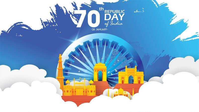 Ejemplo o fondo indio feliz del vector del día de la república para el vector del fondo del cartel o de la bandera de la celebrac ilustración del vector