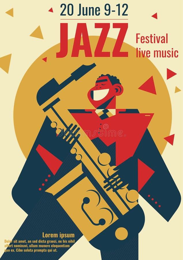 Ejemplo o jazzman del cartel del festival de música de jazz que toca el saxofón para el cartel del concierto del club de jazz stock de ilustración