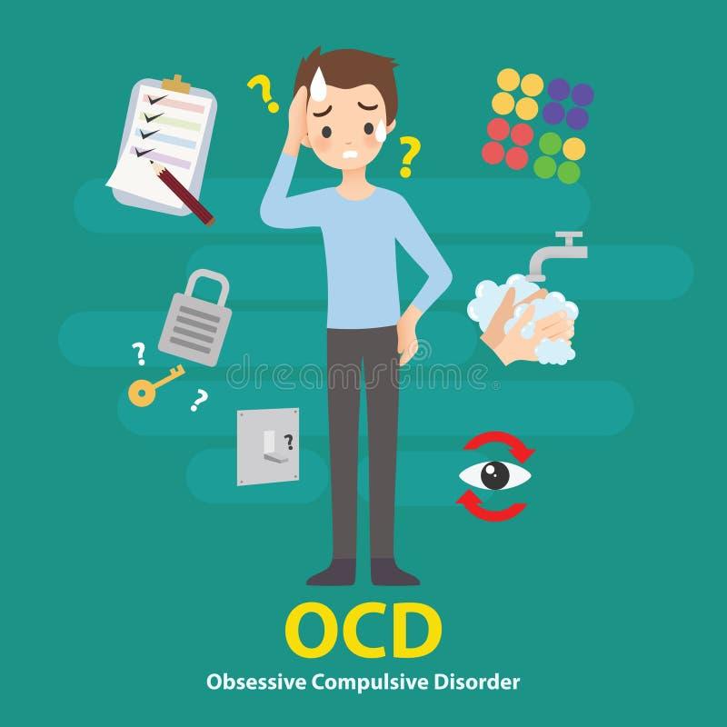 Ejemplo obsesivo del vector de Infographic de las muestras y de los síntomas de la enfermedad mental del desorden de OCD stock de ilustración