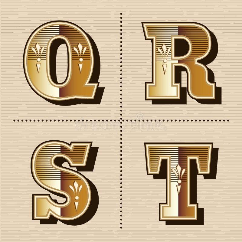 Ejemplo occidental del vector del diseño de la fuente de las letras del alfabeto del vintage libre illustration