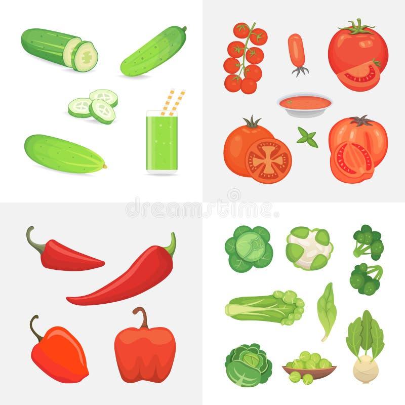 Ejemplo orgánico de la comida del vegano de la granja Elementos sanos del diseño del vector de la forma de vida Verduras del vect libre illustration