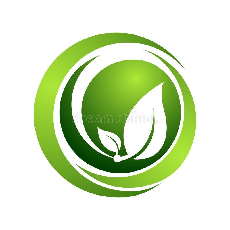 Ejemplo orgánico del concepto de la plantilla del logotipo del vector el verde del círculo deja la muestra Muestra humana abstrac ilustración del vector