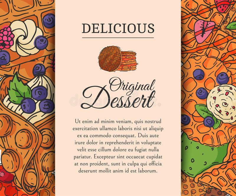 Ejemplo original del vector de la galleta del postre de la oblea del cartel del chocolate de la crema del belga curruscante del s libre illustration