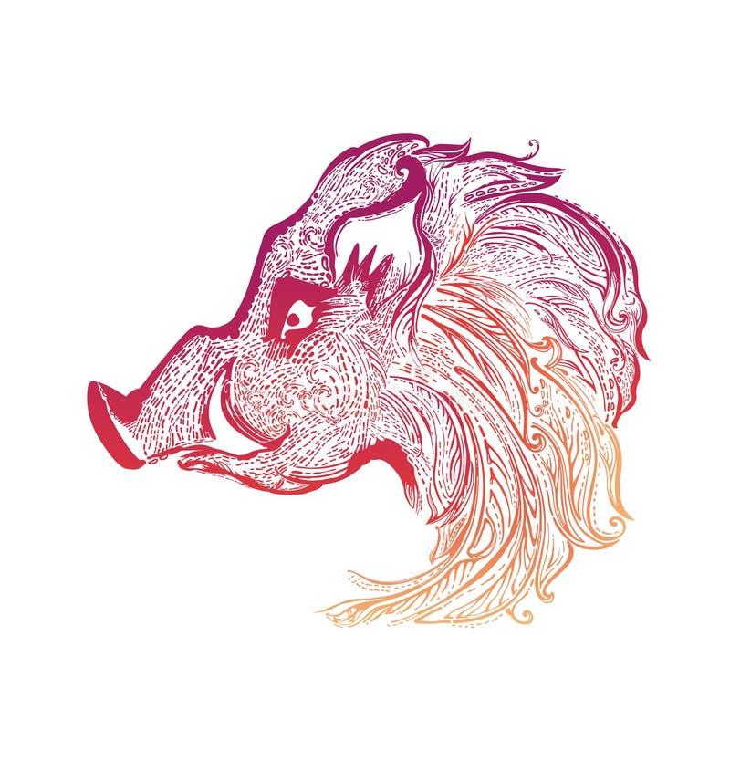 Ejemplo ornamental de la cabeza del jabalí del modelo stock de ilustración