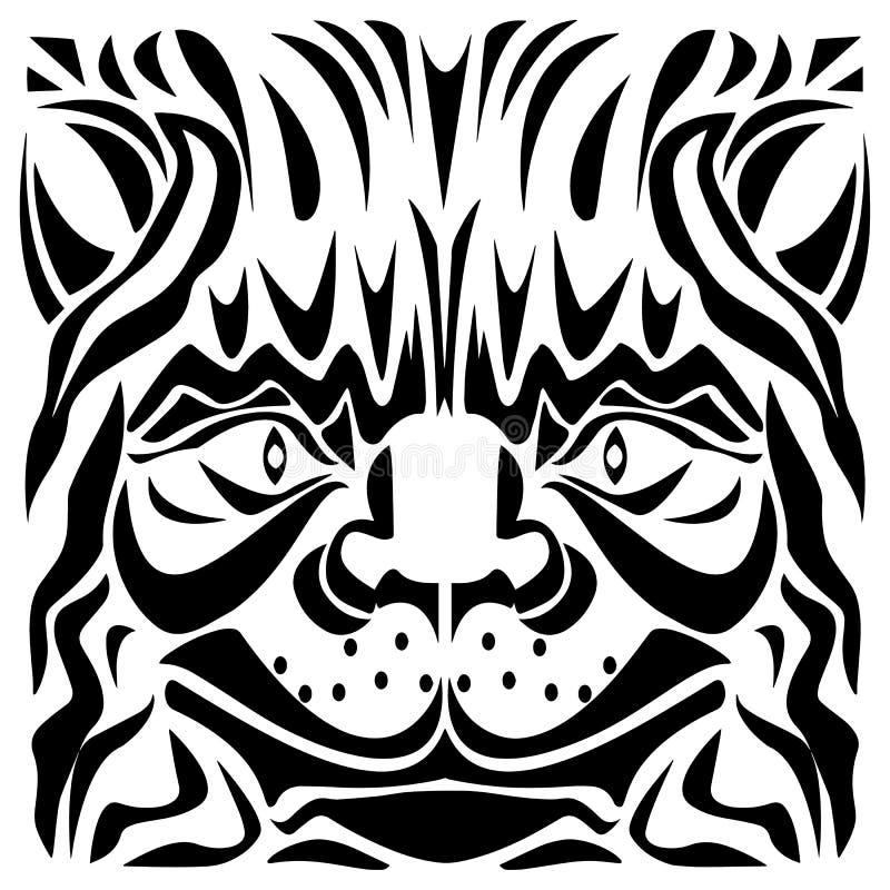 Ejemplo ornamental del vector de la cabeza del ` s del gato ilustración del vector