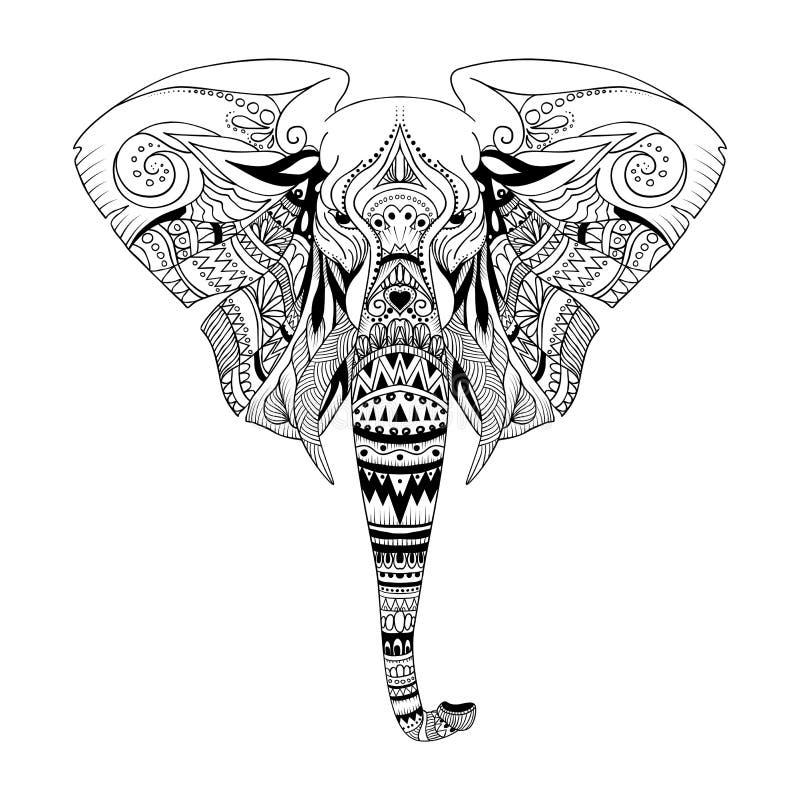 Ejemplo ornamental gráfico del vector de la cabeza étnica del elefante libre illustration